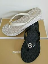 MICHAEL KORS BEDFORD MK LOGO VANILLA BLACK WEDGE THONG FLIP FLOPS  I LOVE SHOES