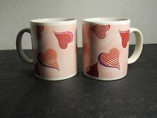 Love Hearts Coffee Mugs Valentines pink, red, white set