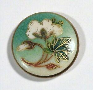 "Vtg Satsuma Japanese Hand Painted Ceramic Porcelain BUTTON White Flower 1 1/8"""