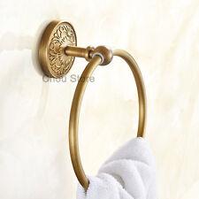Antique Brass Bathroom Towel Rack Holder Flower Carved Round Towel Ring Hanger