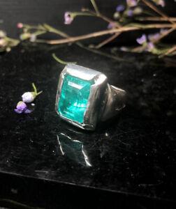 Clovis Emerald Ring, Sterling Silver, Hallmarked, Size N