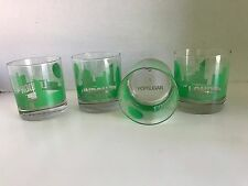 LONDON Sisters of Los Angeles GLASSES SET OF 4 PRINTED SKYLINE GREEN 8 oz NEW