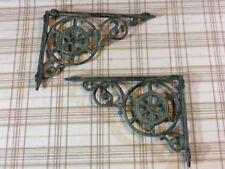 2 Ship Wheel Shelf Brace Shelf Bracket  Cast Iron Rustic Copper Patina Nautical