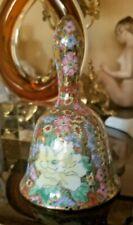 Fine Antique German Porcelain Bell Rich Hand Painted Flowers & 24K Gold