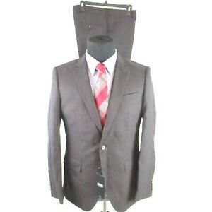 Hugo Boss Huge Genius Slim Fit Textured Wool Suit 38R 32w Black Red $895