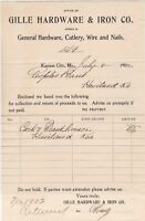 U.S. Gille Hardware & Iron Co. Kansas City 1902 Returned Invoice Ref 41334