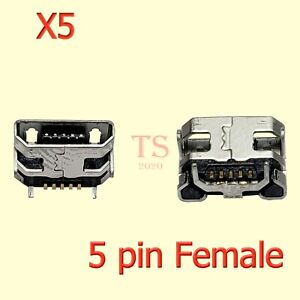 5 X New Micro USB 5 Pin with Horn Charging Sync Port Mount Jack Connector USA