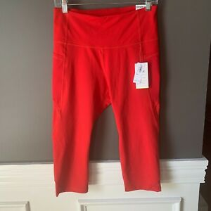 NWT Old Navy Red High Rise Elevate Crop Leggings Pockets Size Petite Large PL