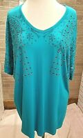 Vocal Women's Studded Top Plus 2X 3X Turquoise Short Sleeve NWT Boutique Boho