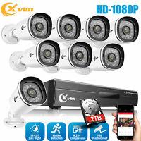 XVIM 8CH 1080P Security Camera System Outdoor Motion Alert CCTV DVR 1/2TB HDD