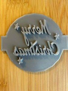 MERRY CHRISTMAS & STARS Fondant Icing Cupcake Cookie Embosser Stamp - UK
