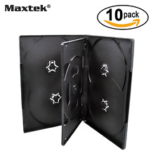 10 Pack Standard 14mm Black Six (6) Disc DVD Cases with Double Sided F...