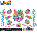 Pinecar Dry Transfer Decals Peace & Love PIN4022