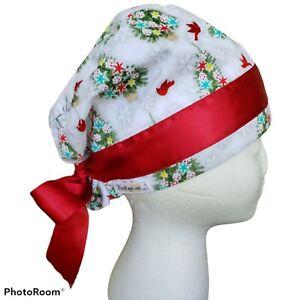 Kim Kaps Christmas Scrub Cap Nursing Pony Tail Tie Back Style