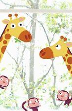 Kinder Fenstersticker Giraffe u. Affen Fensterbilder Kids Fensterfolie Zoo Tiere