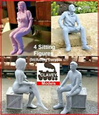 More details for 4 x garden railway people sm32 16mm 1:19 scale sit figures paint ready free p&p