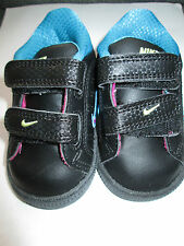 GENUINE NIKE BLACK VELCRO BABY GIRLS BOYS TRAINERS PINK & BLUE TRIM UK 3