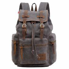 "HUACHEN Vintage Travel Canvas Leather Backpack 17"" Laptop Backpacks Camping Bag"