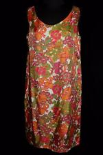Vintage 1960'S-1970'S Colorful Vivid Floral Silk Sheath Dress Size 8
