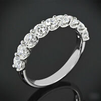 Round Cut 0.90 Ct White Gold 14K Real Diamond Women's Eternity Bands 4 5 6 7 8
