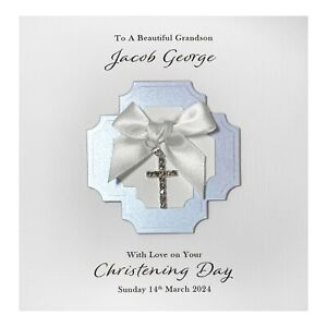 Handmade PERSONALISED Christening Card - Diamanté Cross Charm Boy
