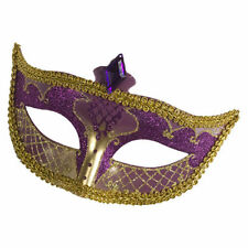 Gold Purple Venitian Mask Mardi Gras Womens Adult Fancy Dress Carnival Costume