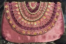 Pink purse/bag bead sequin and applique magnetic catch vintage retro look  NEW