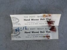 2 Pott Hand Woven Trout Flies Missoula Montana Original Card