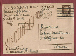 cartolina postale VINCEREMO da Padova a Vicenza 1943 storia postale RSI Regno