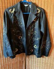 Laura Ashley -Sz PetIte Crewel Embroidered Art-to-Wear French Blazer Jacket