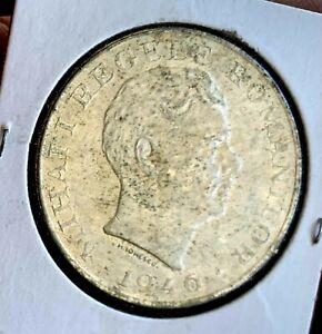 1946 Romania 100,000 Lei Woman Releasing Dove Silver Coin, UNC
