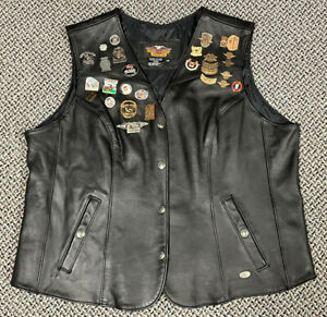 Harley-Davidson Black Leather Motorcycle Vest Women Plus Size 3W Pins & Patches