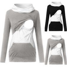 Maternity Women Ladies Breastfeeding Pregnant High Neck Long Sleeve T-Shirt Tops