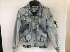 Vtg 1980s Acid Wash Blue Jean Denim Bomber Jacket Shoulder Pads Women's size M
