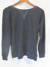Aerie Cross Wrap Back Crew Neck Shirt Sweater Long Sleeve Black Size M  #6398
