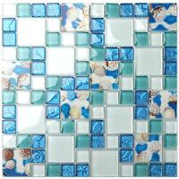 5 Sheets Beach Style Glass Tile for Kitchen Backsplash Bath Wall Seashell Inside
