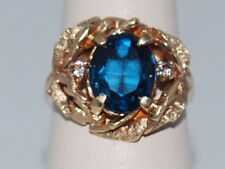 14k Gold ring with large blue sapphire(sept birthstone) and cz diamonds