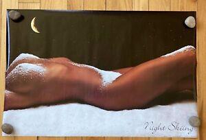 "VTG Sexy Hot Girl SKI Poster Night Skiing 23""x 34.5"" NEW SEALED Man Cave 1991"
