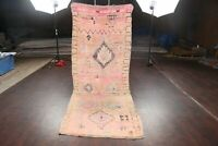 Antique Authentic Moroccan Berber 10 ft Coral Runner Rug Vegetable Dye 4x10 ft.