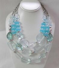 Chico's Aqua Necklace Multi Strand Icy Blue Beads With Silver Accents