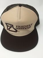 Vintage Friendly Systems Mesh Trucker Snapback Hat Brown Beige Made In USA