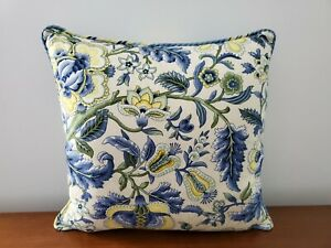 Waverly Imperial Dress Blue White Yellow Floral Pillow 17x17in