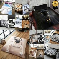 3D Animal Print Throw Soft Warm Faux Fur Fleece Sofa Bed Blanket Double King