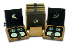 CANADA 1976 28 Pc. OLYMPIC PROOF COINS SET IN ORIGINAL HOLDERS WITH WOODEN RACK