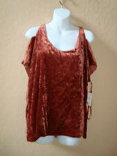 New Rachel Roy RSVP Womens Velour Brown Blouse Top XS