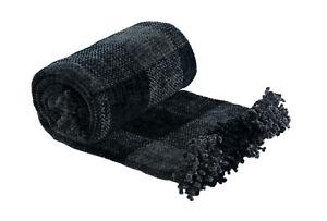 Angus Tartan Check Chenille Chunky Check Sofa / Bed Throw 140x203cm