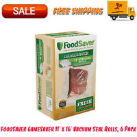 """FoodSaver GameSaver 11"""" x 16' Vacuum Seal Rolls, 6 Pack, Food Box Bags, Kitchen"""
