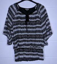 Roz & Ali Women's XL Blouse Black Silver Metallic Striped Career Office N11