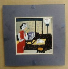 SIGNED JAPANESE EMBROIDERED SILK MODERN TEXTILE ART WORK WOMAN W/FAN & CAT