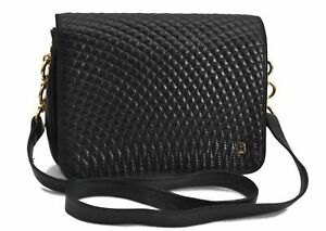 Authentic BALLY Quilting Leather Shoulder Cross Body Bag Black E3106